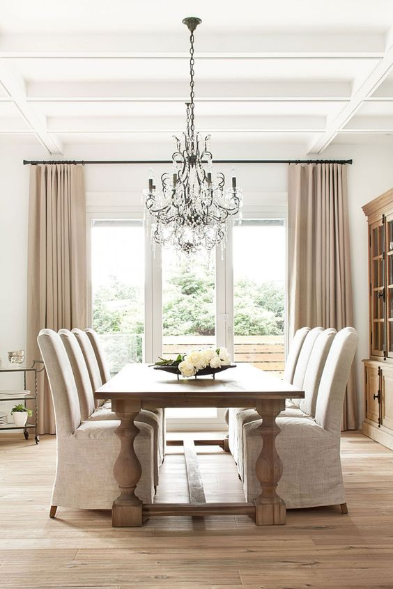 parsons chairs with rustic table
