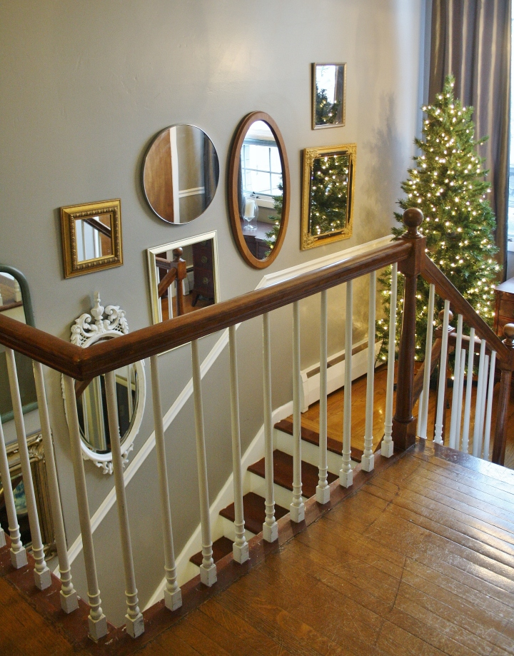 Staircase Mirror Gallery Wall DIY